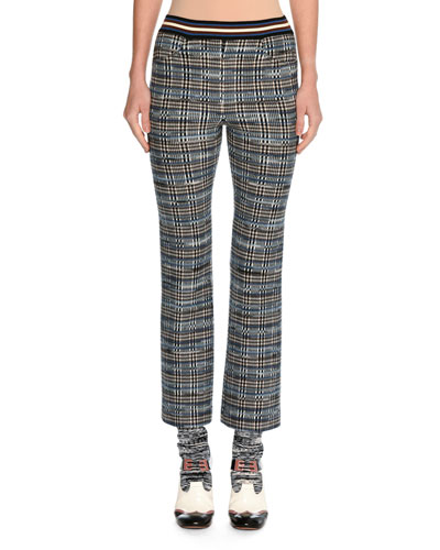 Tartan Jacquard Cropped Kick-Flare Pants, Blue