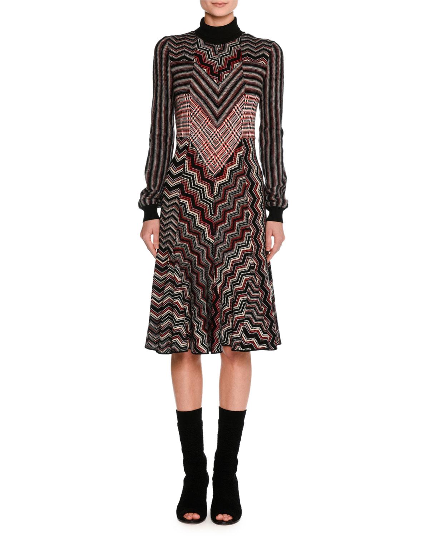 Missoni Patchwork Jacquard Turtleneck Sweater Dress, Red