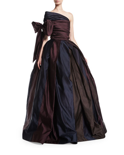 One-Shoulder Ball Gown with Bow, Brown/Purple/Navy