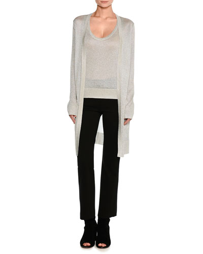 Lurex® Metallic Oversized Open-Front Cardigan