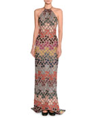 Lurex® Metallic Polka-Dot Halter Gown, Multicolor