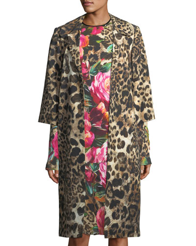 Leopard-Print 3/4-Sleeve Coat, Black