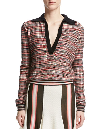 Plaid Tartan Collared Sweater, Red