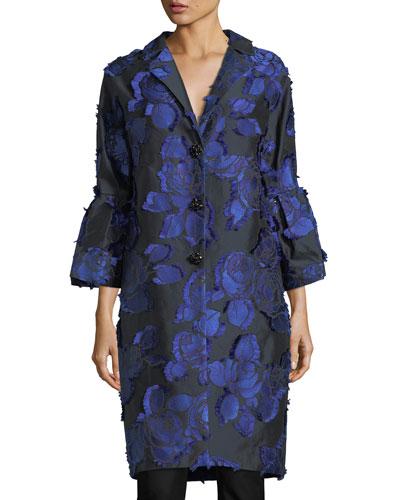 Floral Brocade Bell-Sleeve Coat, Black/Lapis