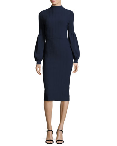 Ottoman-Knit Full-Sleeve Sheath Dress, Navy