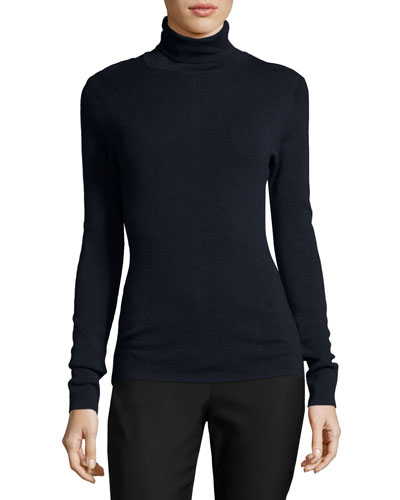 Metallic Turtleneck Top, Navy