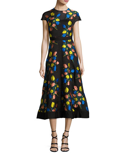 Cap-Sleeve Tulip Fil Coupé A-Line Dress, Black/Multicolor