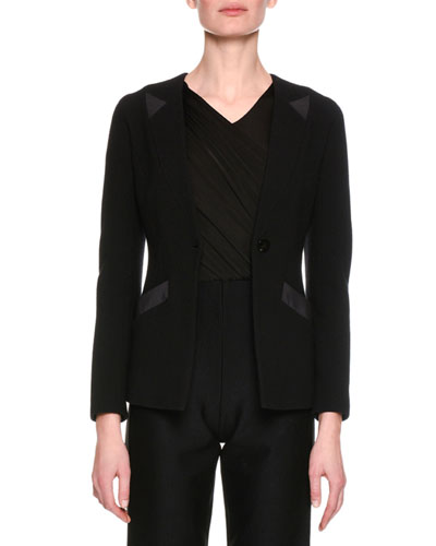 Collarless Jersey Single-Button Jacket, Black