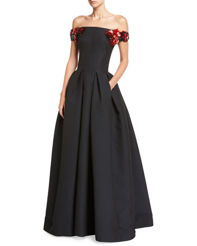 Off-the-Shoulder Gown with Floral Embellishments, Midnight