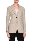 Cashmere Two-Button Blazer, Light Gray
