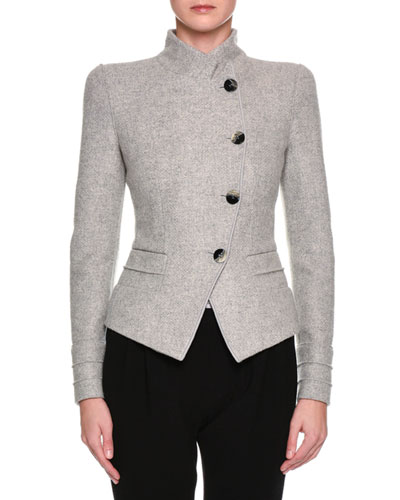 Heathered Asymmetric Button-Front Jacket, Light Gray
