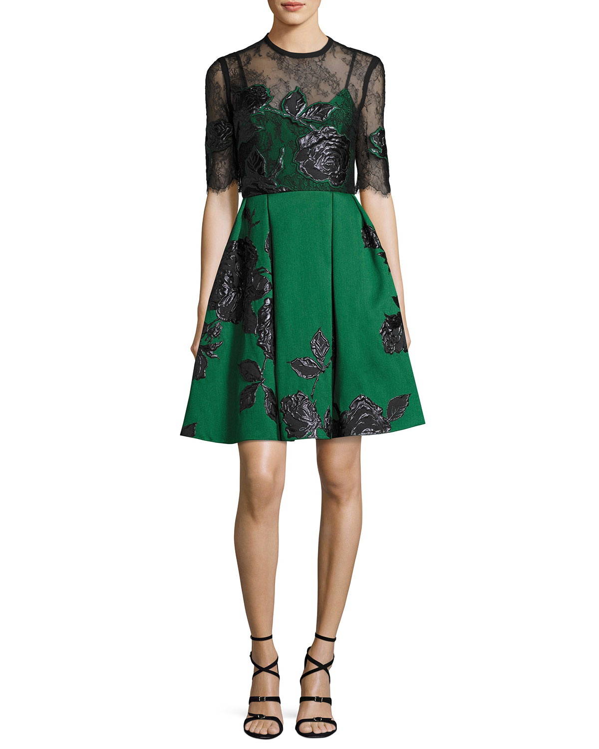 Floral Jacquard Cocktail Dress with Lace Bodice, Green/Black
