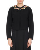 Brett Floral-Embroidered Jacket, Black