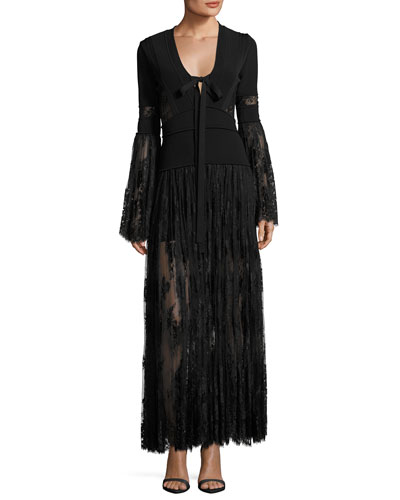 Lace & Knit Bell-Sleeve Evening Dress, Black