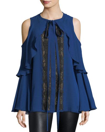 Cold-Shoulder Lace-Inset Top