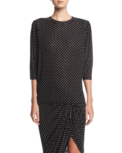Georgette Blouse with Grommets, Black