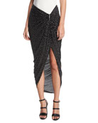 Georgette Sarong Skirt with Grommets, Black