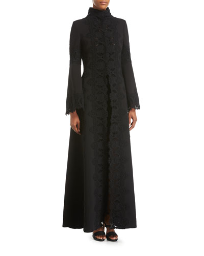 Macramé-Trim Long Dress Coat, Black