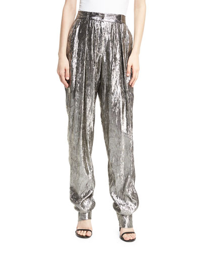 Lamé Pleated High-Waist Trousers, Silver