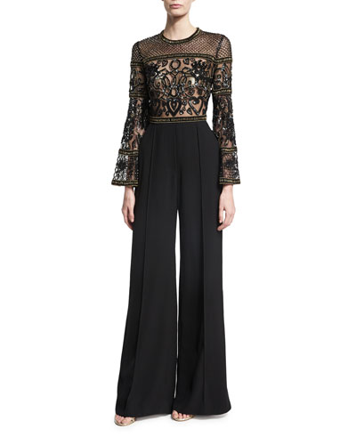 Wide-Leg Bell-Sleeve Jumpsuit with Beaded Bodice, Black