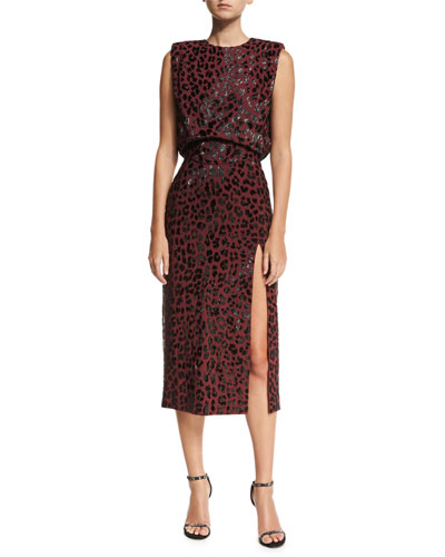 Embellished Leopard Sheath Dress, Dark Red