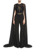 Beaded Cape-Sleeve Jumpsuit