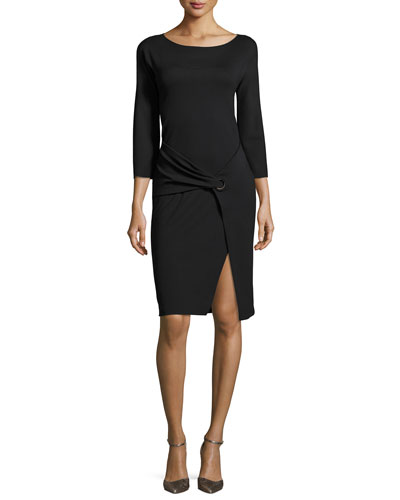 Milano Jersey Faux-Wrap 3/4-Sleeve Dress, Black