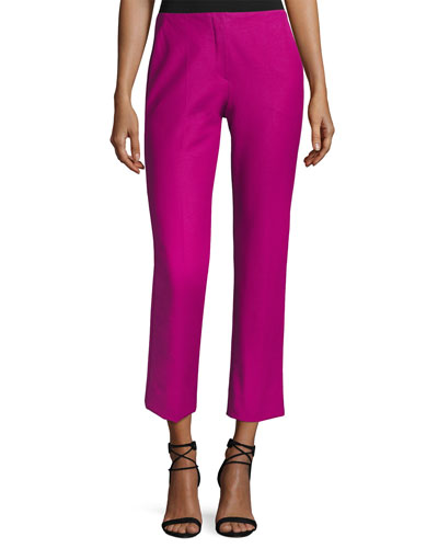 Tech Stretch-Cotton Slim Cropped Pants, Pink
