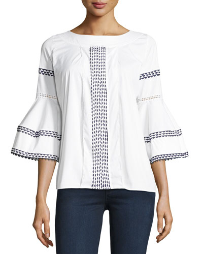 Flounce-Sleeve Embroidered Poplin Blouse, White/Blue