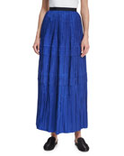 Tiered Pleated Silk Maxi Skirt, Blue