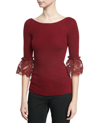 3/4-Sleeve Lace-Cuff Merino Wool Sweater, Dark Red