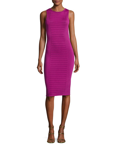Piped Sleeveless Knit Sheath Dress, Pink