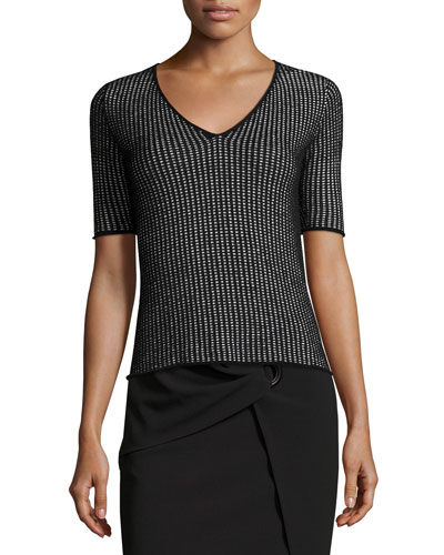 Chenille Knit Check V-Neck T-Shirt, Black/White
