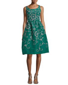 Embroidered Floral Scroll Full-Skirt Party Dress, Green