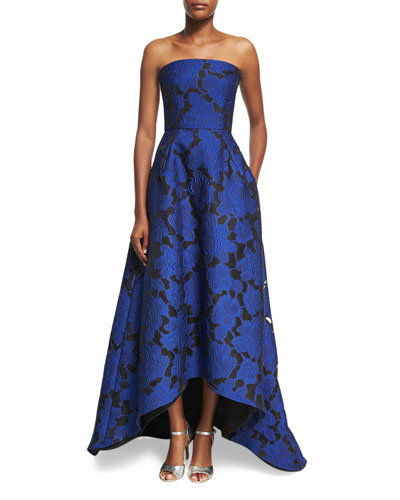 Strapless Floral Jacquard High-Low Gown, Blue