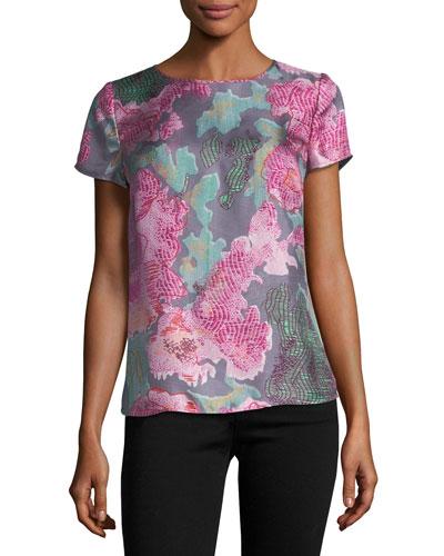 Floral Silk Cap-Sleeve Tee, Pink Multi