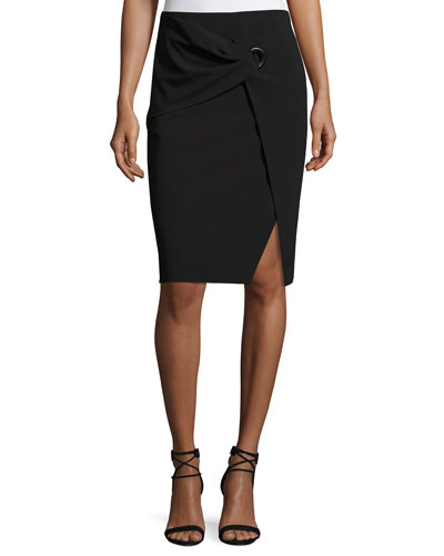 Faux-Wrap Pencil Skirt, Black