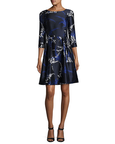 Tossed Stems 3/4-Sleeve Cocktail Dress, Blue/White