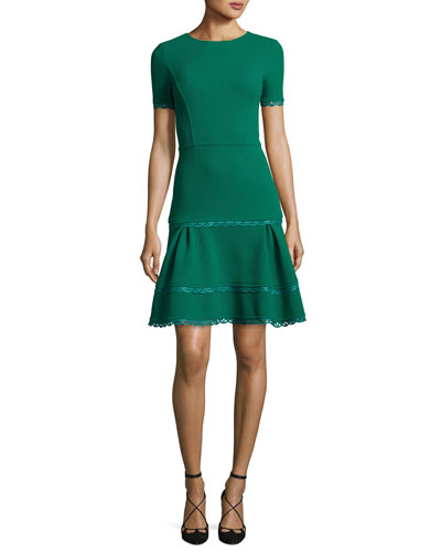 Short-Sleeve Lace-Trim Dress, Green