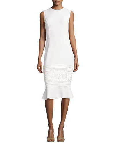 Sleeveless Embroidered Flounce-Hem Sheath Dress, White