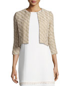 Tweed 3/4-Sleeve Cropped Jacket, Gold