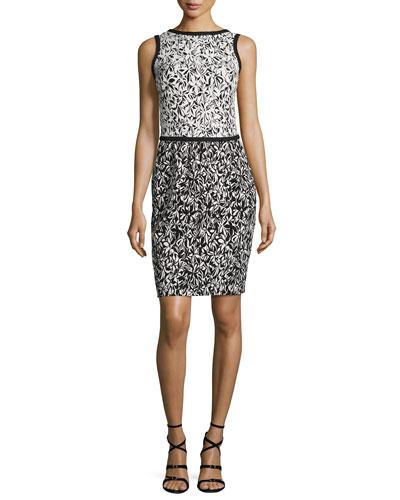 Bicolor Floral Sleeveless Dress, Black/White