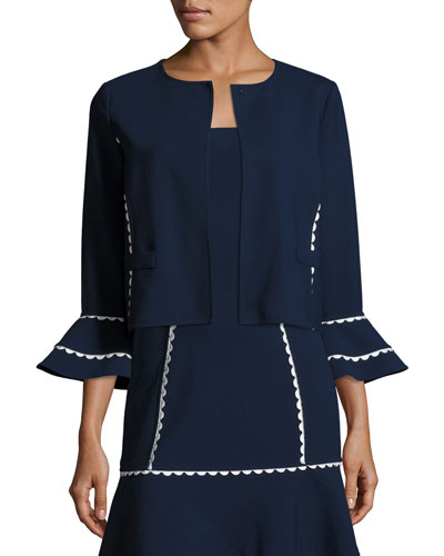 Flounce-Sleeve Scalloped-Trim Jacket, Blue/White