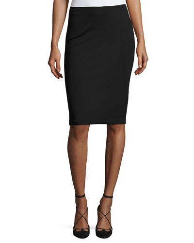 Milano Jersey Pencil Skirt, Black