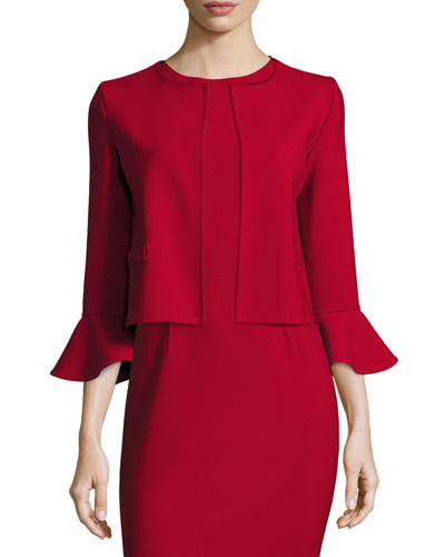 Flounce-Sleeve Cropped Jacket, Dark Red