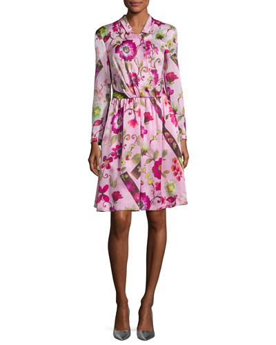 Floral Silk Long-Sleeve Shirtdress, Pink Multi