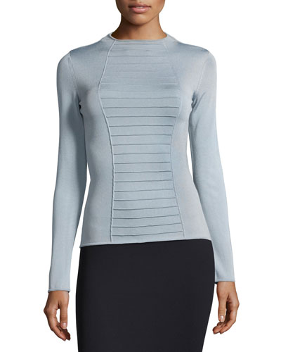 Piped Long-Sleeve Knit Top, Blue