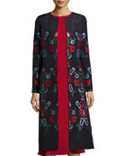 Cross-Stitch Embroidered Silk Coat, Blue