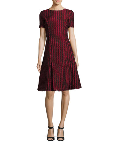 Short-Sleeve Jacquard A-line Dress, Dark Red