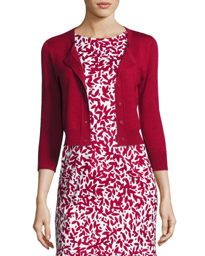 3/4-Sleeve Cropped Cashmere-Silk Cardigan, Dark Red